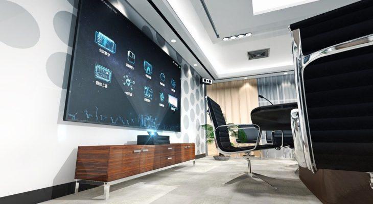 salon con televisor y equipamiento tecnologico